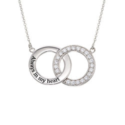 Cubic Zirconia Interlocking Circle Necklaces in Sterling Silver product photo