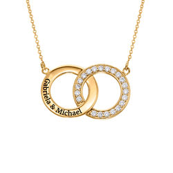 Cubic Zirconia Interlocking Circle Necklaces in 18ct Gold Vermeil product photo