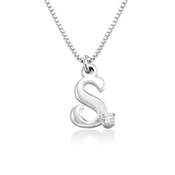 Diamond initial necklace in Sterling Silver product photo