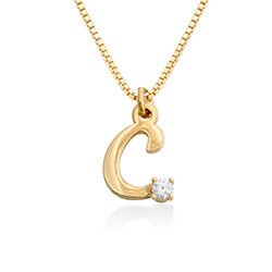 Diamond initial necklace in 18K Gold Vermeil product photo
