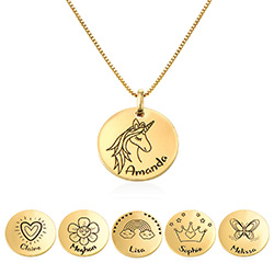 Kids Drawing Disc Necklace in 18K Gold Plating product photo