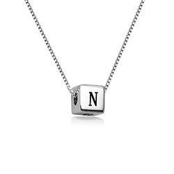 Blair Initial Cube Necklace in Sterling Silver product photo