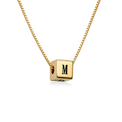 Blair Initial Cube Necklace in Gold Plating product photo