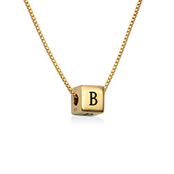 Blair Initial Cube Necklace in Gold Vermeil product photo
