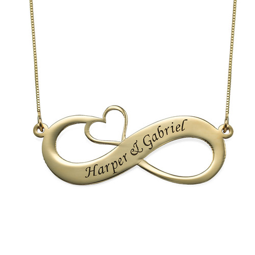 14ct Engraved Infinity Necklace with Cut Out Heart