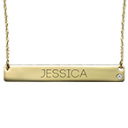 14ct Gold Bar Necklace with Diamond & Engraving