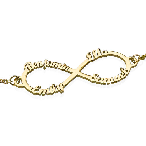 14ct Gold Infinity 4 Names Bracelet - 1