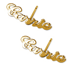 14ct Gold Name Earrings