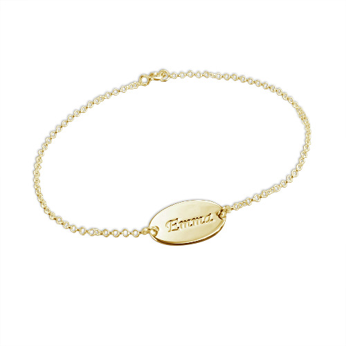 18ct Gold-Plated Silver Personalised Baby Bracelet - 1