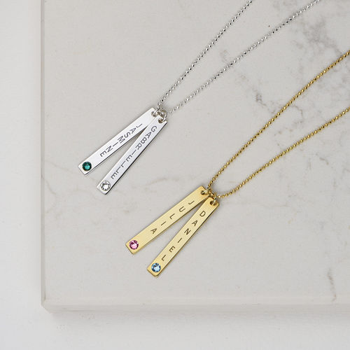 18ct Gold Plated Bar Necklace with Swarovski Stone - 3