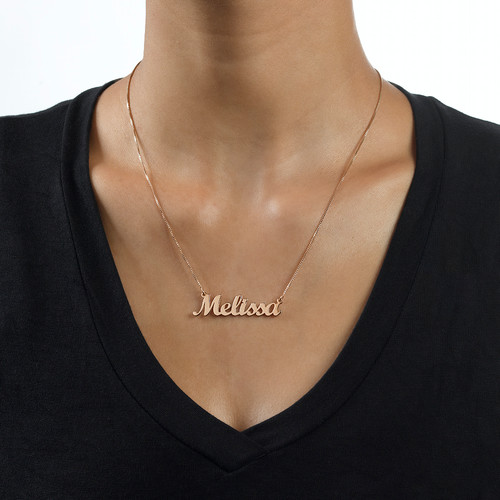 18ct Rose Gold Plated Script Name Necklace - 1