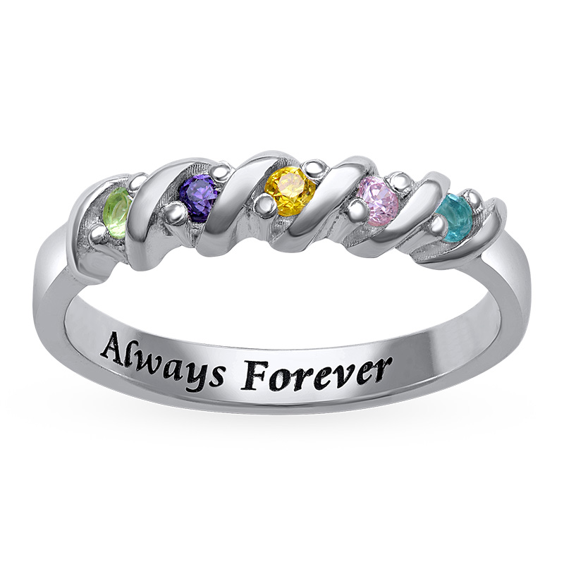 5 Stone Birthstone Ring for Mums - 1