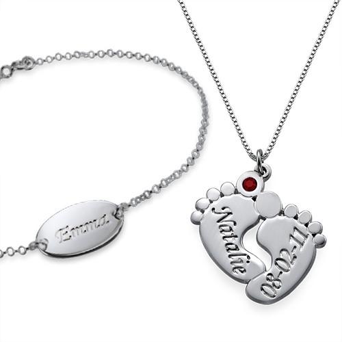 Baby Feet Necklace & Baby Bracelet Set