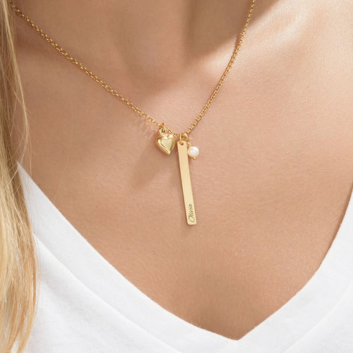 Bar Necklace with heart charm and pearl in Gold Plating - 3