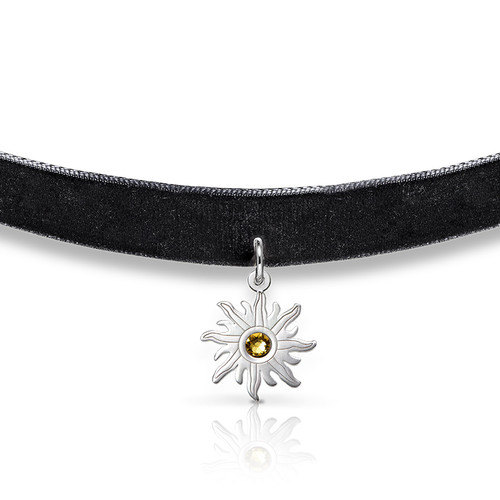 Black Choker Necklace with Birthstone Sun Charm - 1