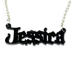 Black Angel Style Name Necklace