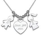 Boy Girl Charm Necklace with Love You Mum Pendant