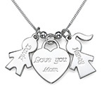 Charm Necklace with Love You Mum Heart Pendant