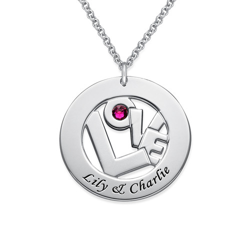 Circle Name Necklace with Birthstone - Yours Truly Collection