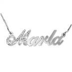 Diamond Capital 14ct White Gold Name Necklace