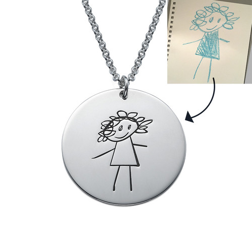 Disc Necklace for Mums with Kids Drawings - 1