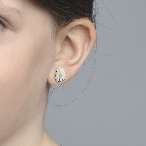 Enamel Flower Earrings for Kids - 1