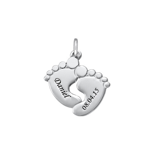 Engraved Baby Feet Charm