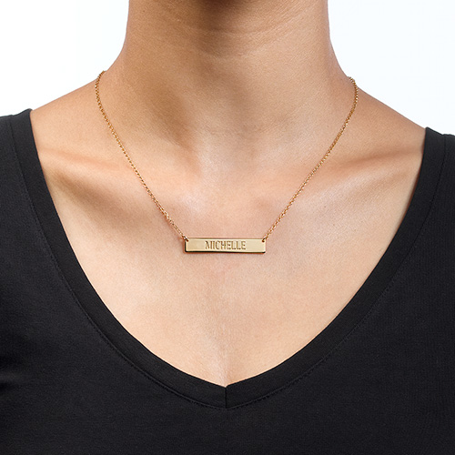 Engraved Bar Necklace in Gold Plating - 1