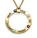 Engraved Birthstone Necklace for Mum - Gold Plated