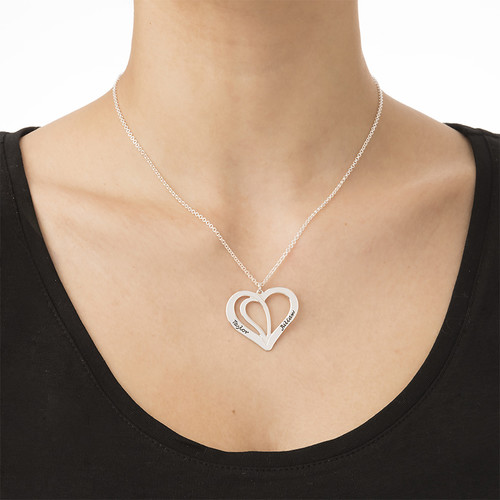 Engraved Couples Necklace in Silver - 1