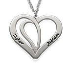 Engraved Couples Necklace in Silver