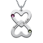 Engraved Double Heart Necklace with Birthstones