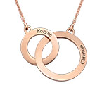 Engraved Eternity Circles Necklace in Rose Gold Plating