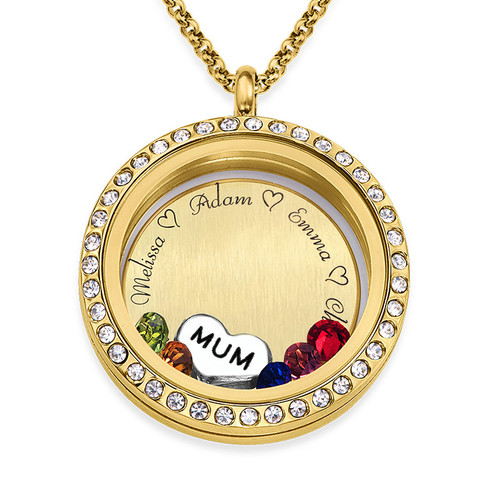 """Engraved Floating Charms Locket - """"For Mum or Grandma"""" with Gold Plating"""