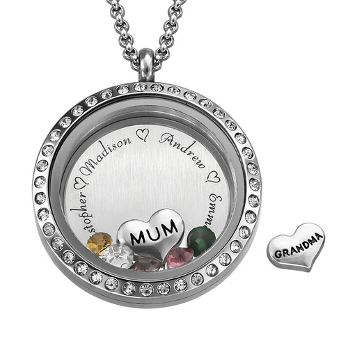 """Engraved Floating Charms Locket - """"For Mum"""""""