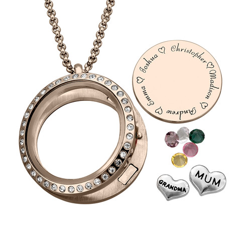 "Engraved Floating Charms Locket with Rose Gold Plating - ""For Mum or Grandma"" - 1"