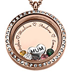 Engraved Floating Charms Locket with Rose Gold Plating -