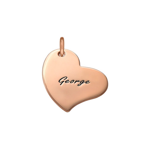 Engraved Heart Charm - Rose Gold Plated
