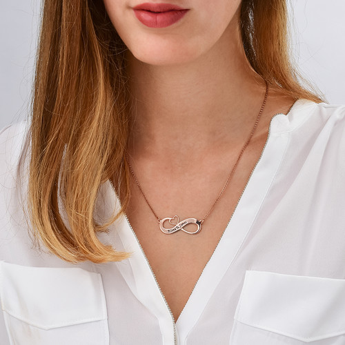 Engraved Infinity Necklace with Cut Out Heart - Rose Gold Plated - 1