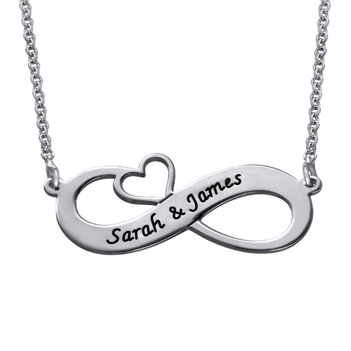 Engraved Infinity Necklace with Cut Out Heart