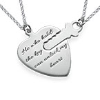 Engraved Key to My Heart Necklace