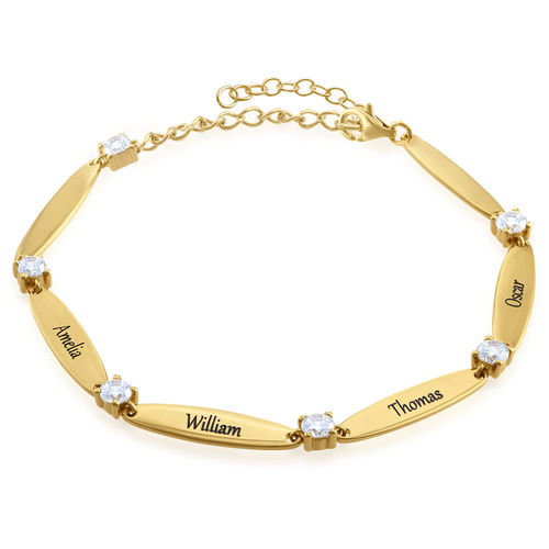 Engraved Mother Bracelet with Cubic Zirconia in Gold Plating