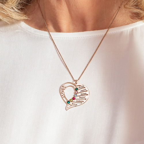 Engraved Mum Birthstone Necklace - Rose Gold Plated - 5