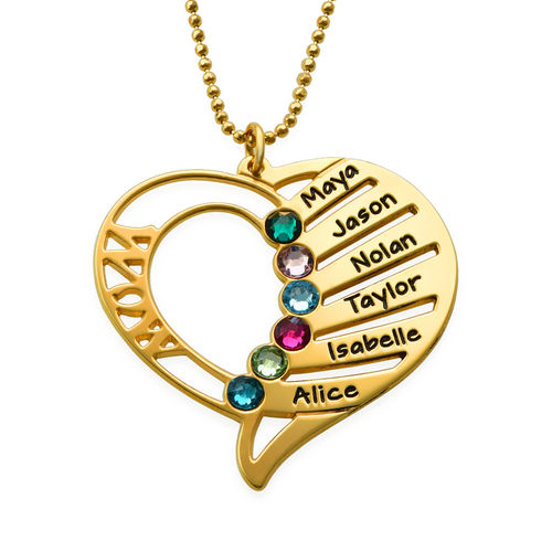 Engraved Mum Birthstone Necklace  - Gold Plated