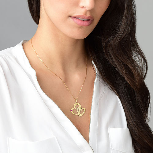 Engraved Two Heart Necklace - 14ct Gold - 2