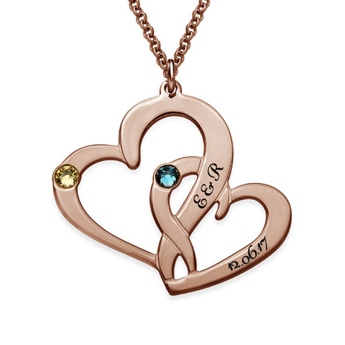 Engraved Two Heart Necklace with Rose Gold Plating - 1
