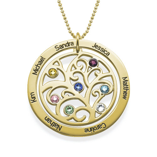 Family Tree Birthstone Necklace - 18ct Gold Plated