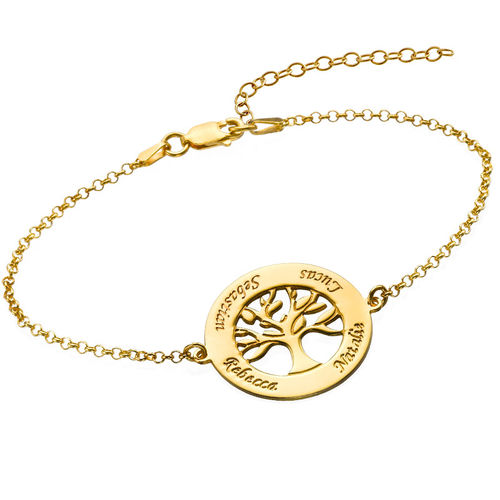 Family Tree Bracelet with Engraving - Gold Plated