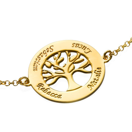 Family Tree Bracelet with Engraving - Gold Plated - 1