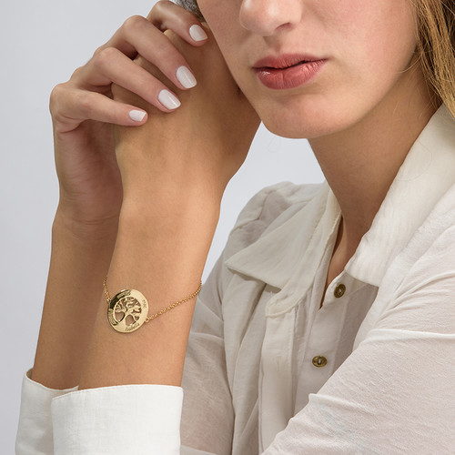 Family Tree Bracelet with Engraving - Gold Plated - 2
